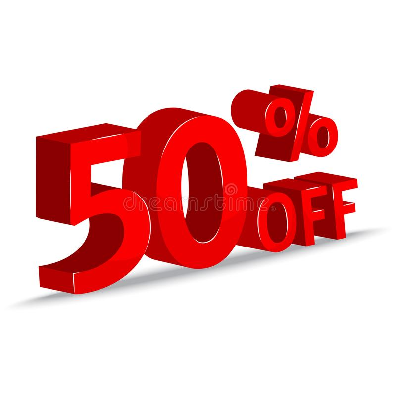 销售额 50% 红色题字3d 也corel凹道例证向量 皇族释放例证