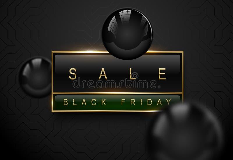 销售黑星期五豪华横幅 在黑绿色长方形标签框架的金黄文本 黑暗的几何样式背景 向量 库存例证