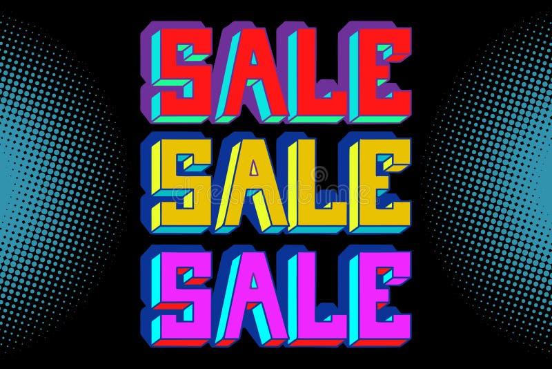 销售黑色蓝色流行艺术背景 库存例证
