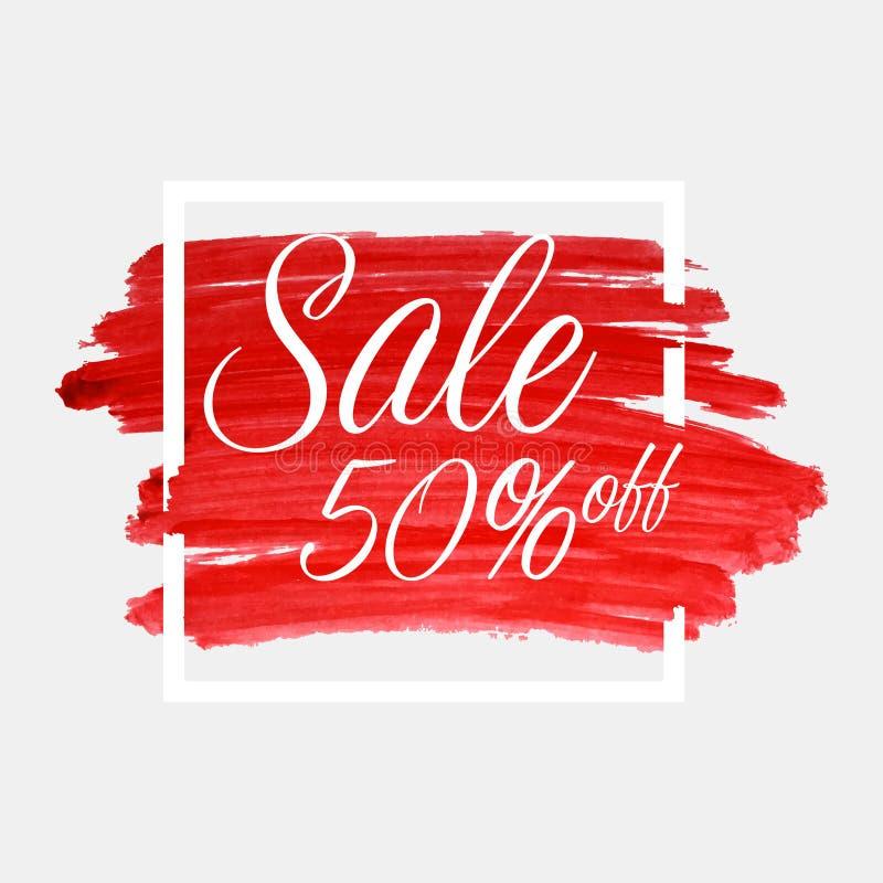销售,字法的50%在与白色框架的水彩冲程 红色难看的东西摘要背景刷子油漆纹理 皇族释放例证