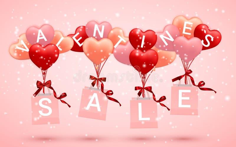 销售,愉快情人节背景,红色,桃红色和橙色气球以心脏的形式与弓和丝带和纸购物带来 库存例证