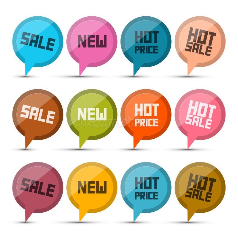 销售,新,热的价格圈子传染媒介标签 向量例证