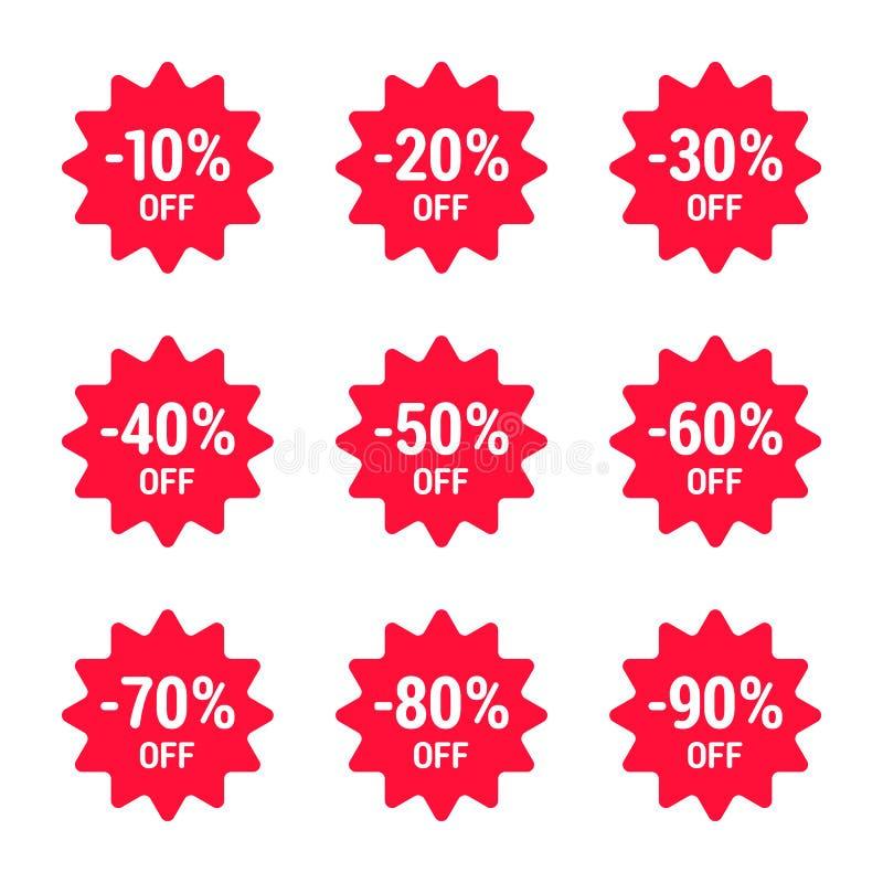 销售,百分之,象集合,红色 传染媒介EPS 10 库存例证