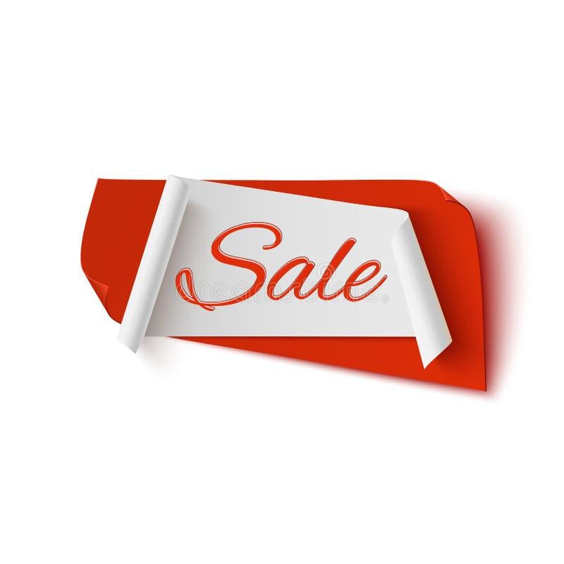 销售,红色和白色抽象横幅 库存例证