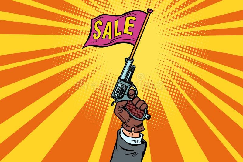 销售,起始者手枪开始  皇族释放例证