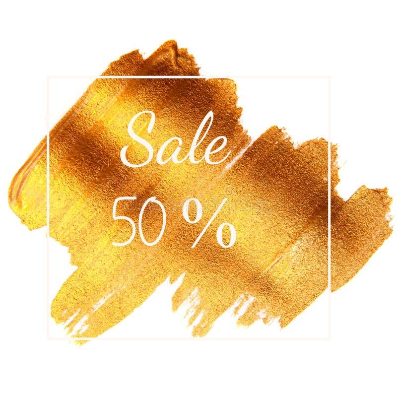 销售50% -发短信在金黄绿色背景 免版税库存照片
