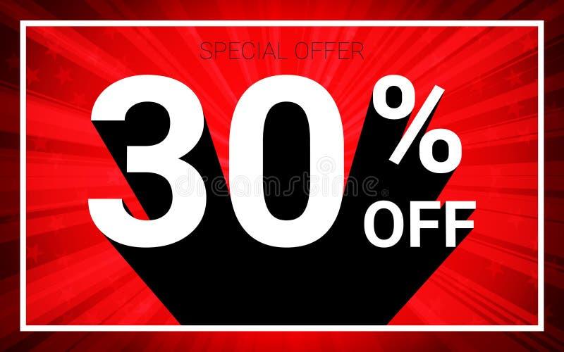 30%销售 白色颜色3D文本和黑阴影在红色爆炸背景设计 库存例证