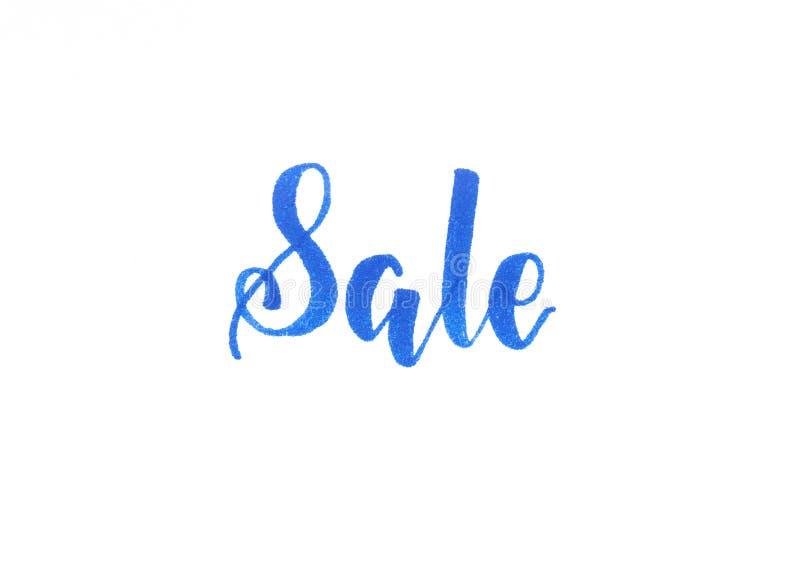 销售-藏青色题字手字法 库存例证