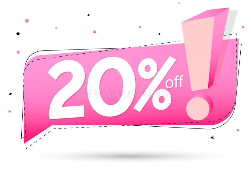 销售20%,讲话泡影横幅设计模板,折扣标记,传染媒介例证 向量例证