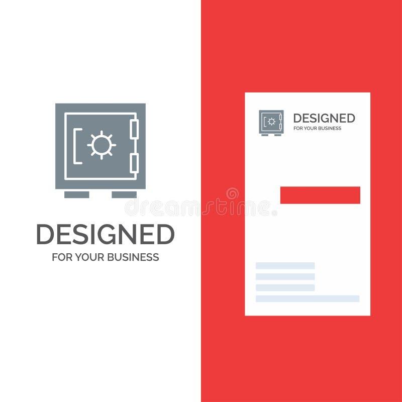 锁、衣物柜、安全、安全灰色商标设计和名片模板 向量例证
