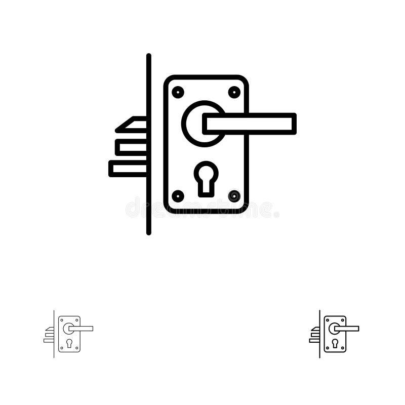 锁、门、把柄、匙孔,家庭大胆和稀薄的黑线象集合 向量例证