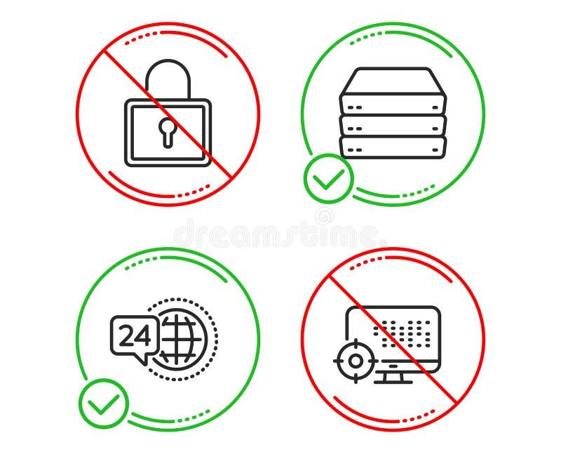 锁、24h服务和服务器象集合 SEO?? 私有衣物柜,电话支持,大数据 搜索引擎 ?? 皇族释放例证