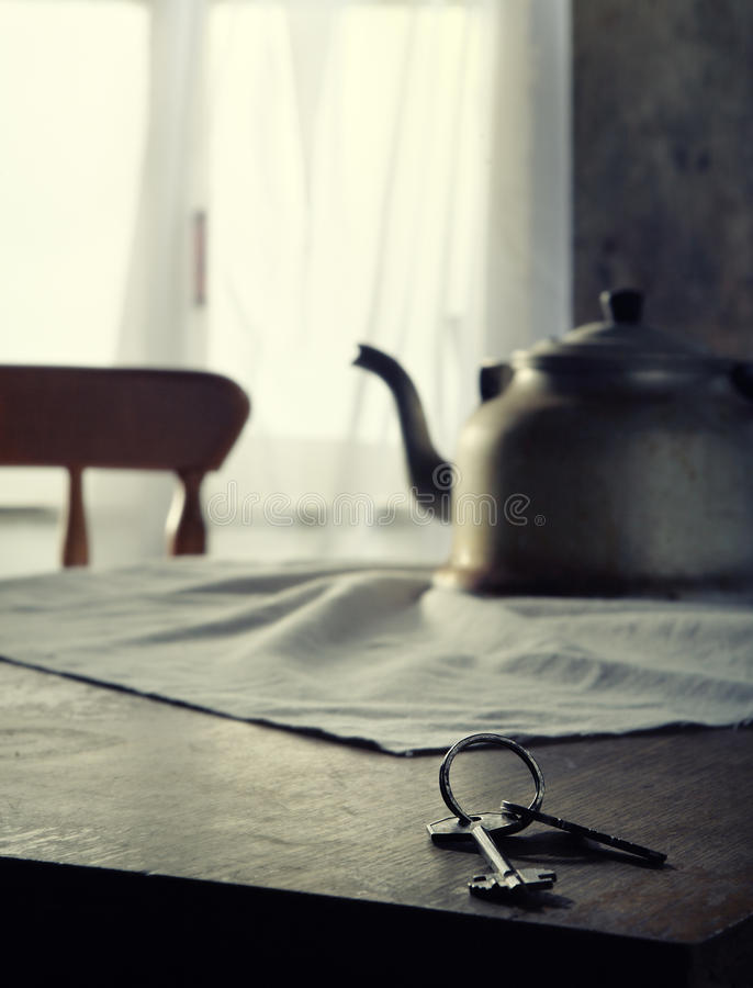 锁上厨房用桌 免版税库存照片