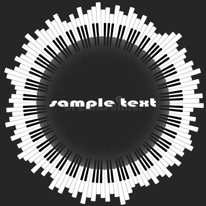 锁上钢琴 抽象圈子,与反射在中心 适用于一家乐器商店 库存例证