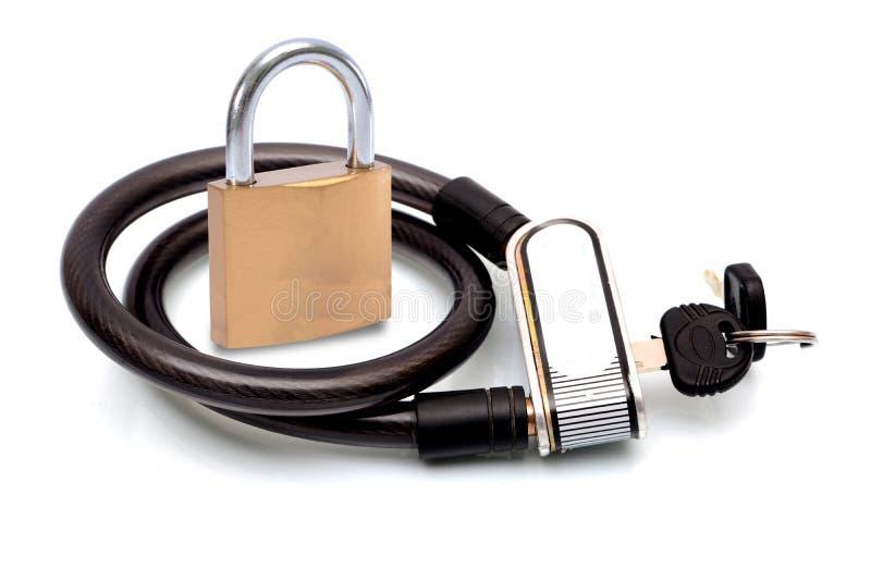 锁与在白色isoalted的钥匙的概念 库存图片