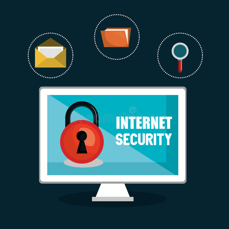 锁互联网安全文件luope设计 库存例证