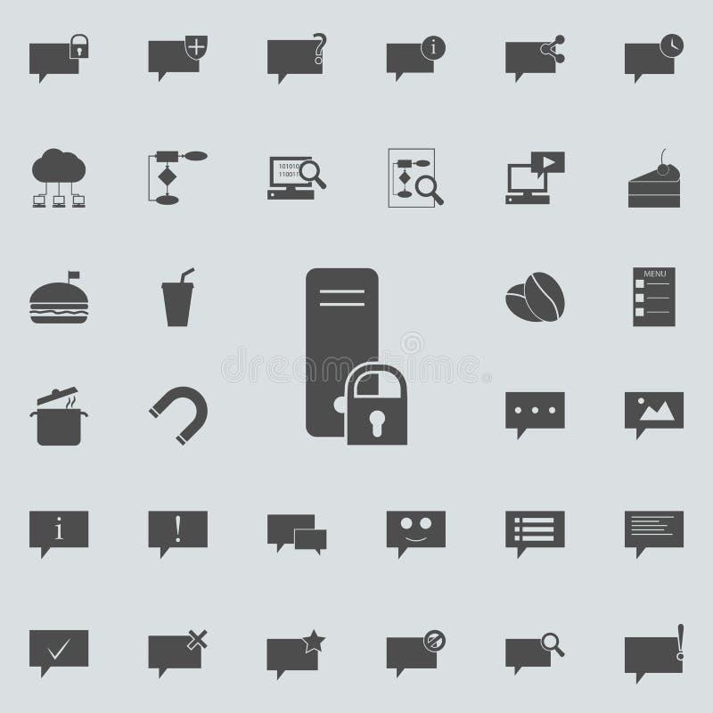 锁在服务器象 详细的套minimalistic象 优质质量图形设计标志 其中一个汇集象fo 皇族释放例证
