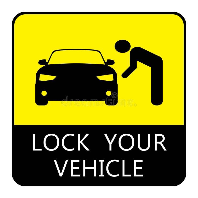 锁您的车汽车停车处委员会 向量例证