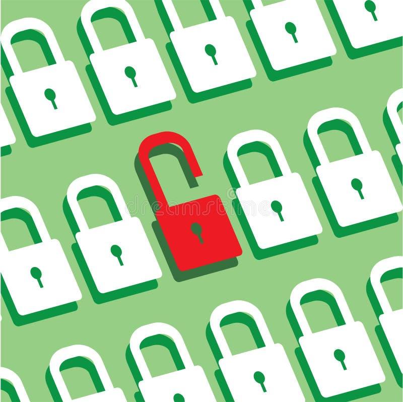锁盘区有一把锁的打开了安全标志 库存例证
