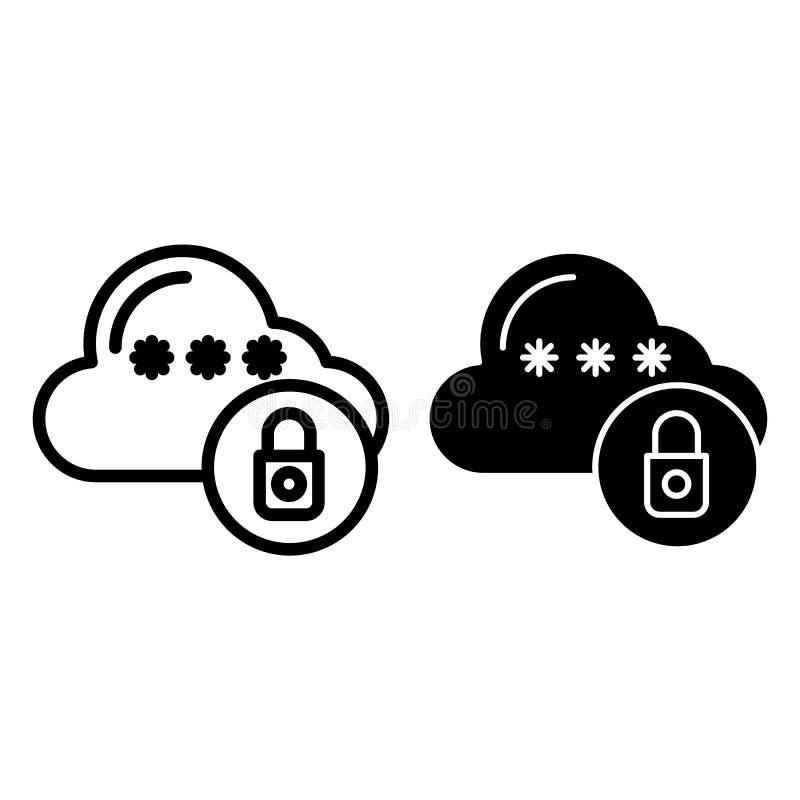 锁着的云彩线和纵的沟纹象 与挂锁在白色隔绝的传染媒介例证的云彩 数据保护概述 皇族释放例证