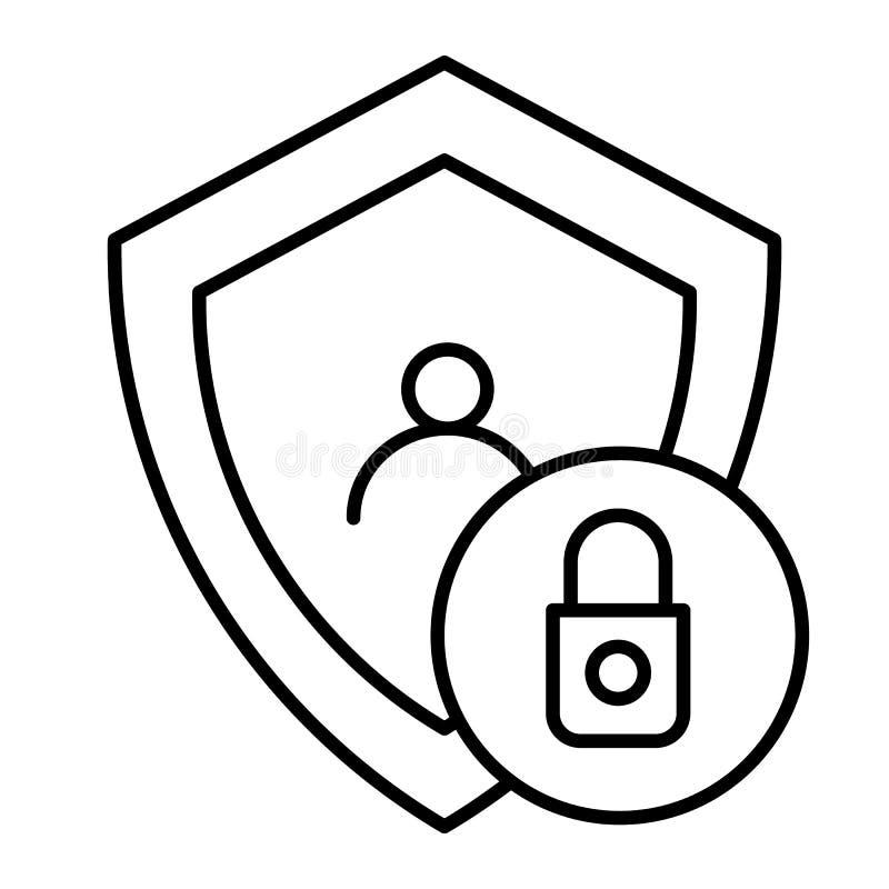 锁着的用户稀薄的线象 与盾在白色隔绝的传染媒介例证的帐户 人的保密性概述样式 库存例证