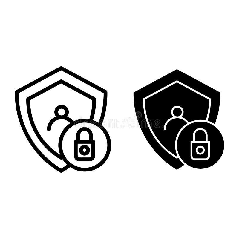 锁着的用户行和纵的沟纹象 与盾在白色隔绝的传染媒介例证的帐户 人的保密性概述样式 皇族释放例证
