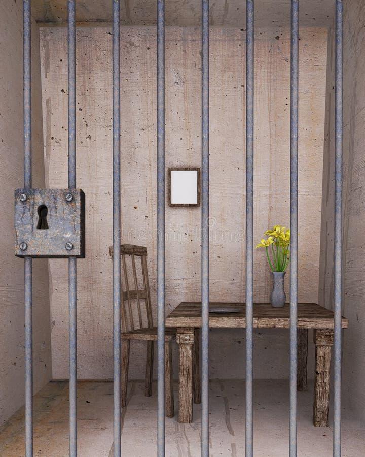 锁着的监狱牢房 皇族释放例证
