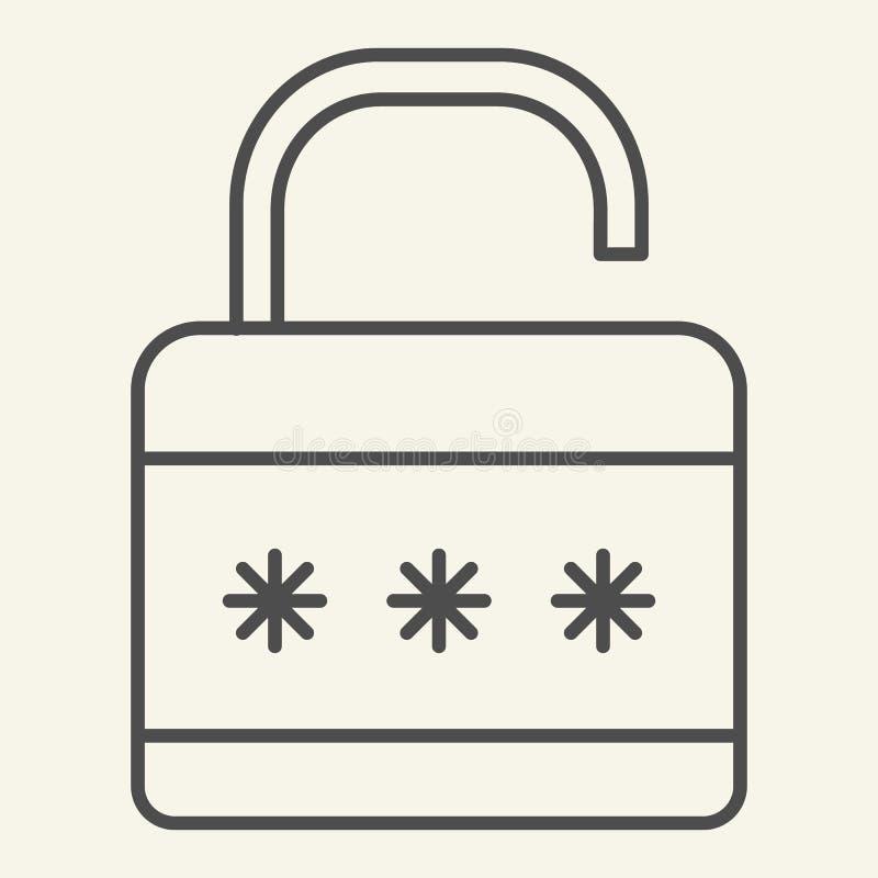 锁稀薄的线象 挂锁在白色隔绝的传染媒介例证 安全概述样式设计,设计为网和 向量例证