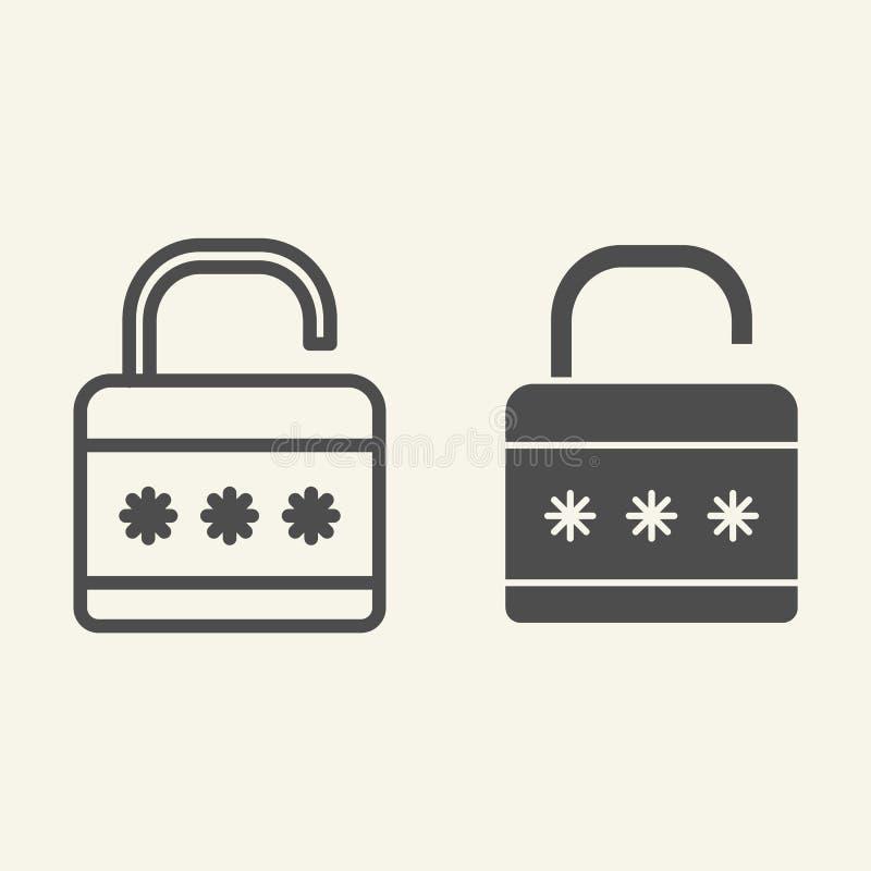锁线和纵的沟纹象 挂锁在白色隔绝的传染媒介例证 安全概述样式设计,设计为网 皇族释放例证