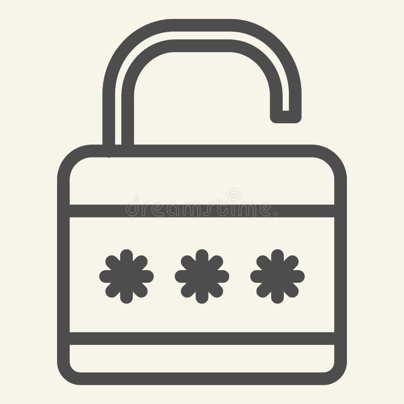 锁线象 挂锁在白色隔绝的传染媒介例证 安全概述样式设计,设计为网和app 库存例证