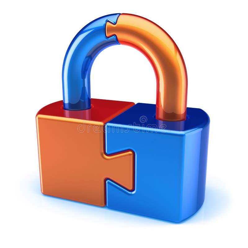 锁被关闭的挂锁难题橙色蓝色 皇族释放例证