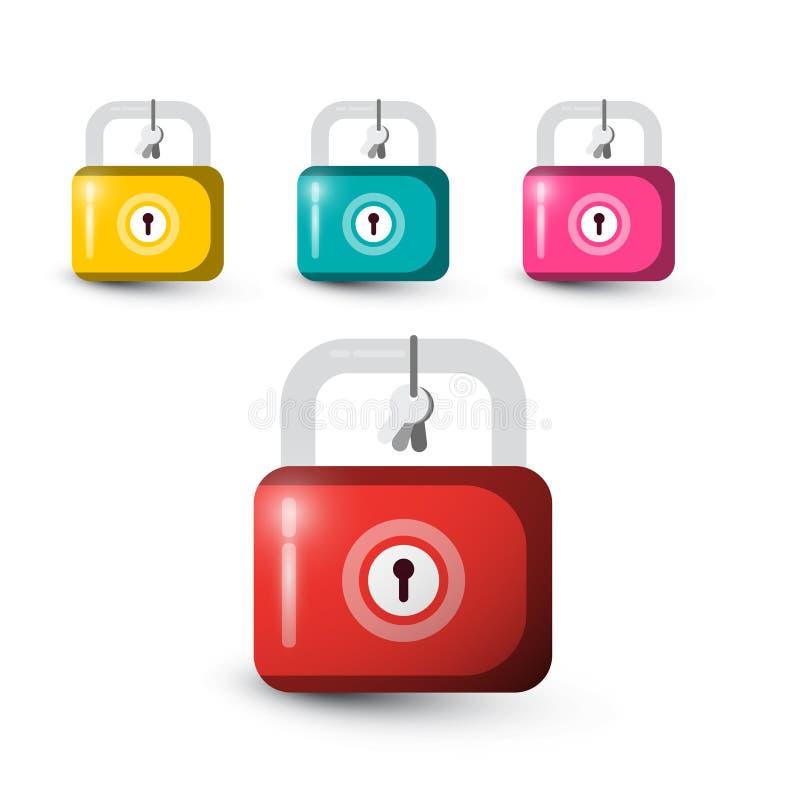 锁象 五颜六色的锁设置与钥匙 皇族释放例证