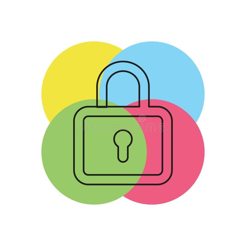 锁象-传染媒介挂锁-安全标志 向量例证