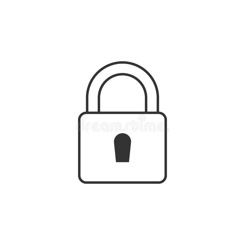 锁,关键线象 流动app的简单,现代平的传染媒介例证,网站或者桌面app 向量例证