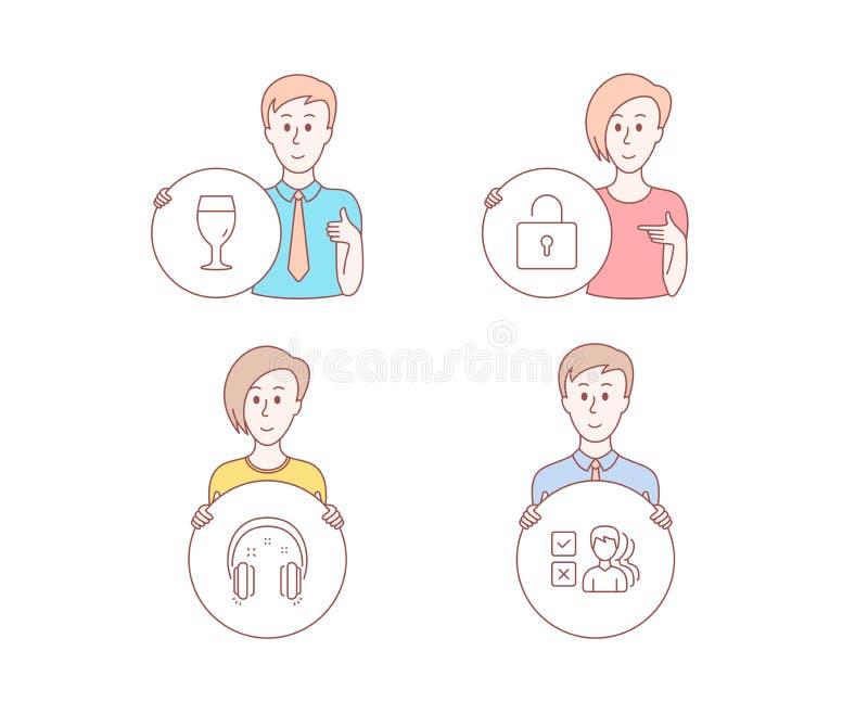 锁,啤酒杯和耳机象 观点标志 私有衣物柜,啤酒厂饮料,耳机 向量 库存例证