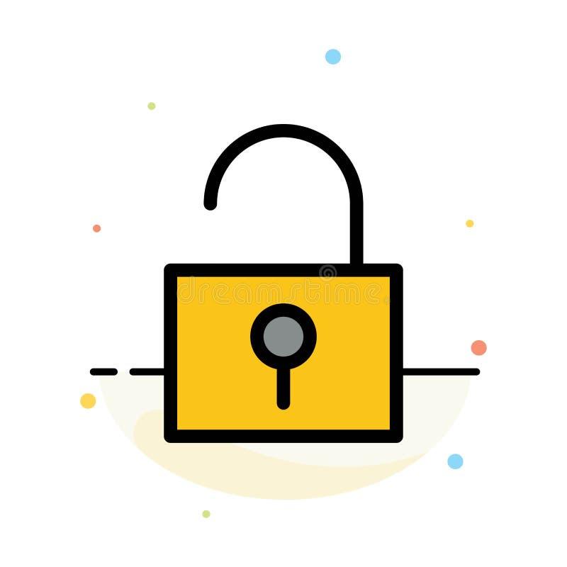 锁,开锁,用户界面摘要平的颜色象模板 库存例证