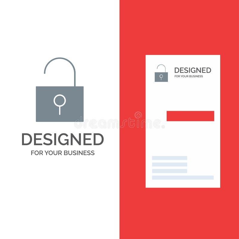 锁,开锁,用户界面灰色商标设计和名片模板 皇族释放例证