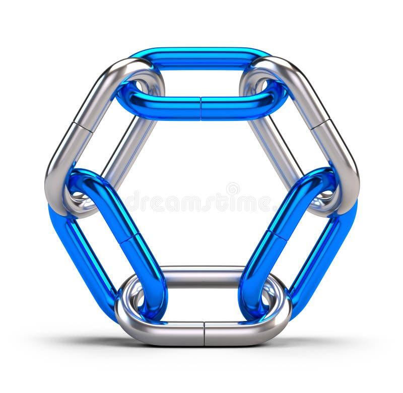 锁,连接,队,合作概念-在白色隔绝的链节象 库存例证
