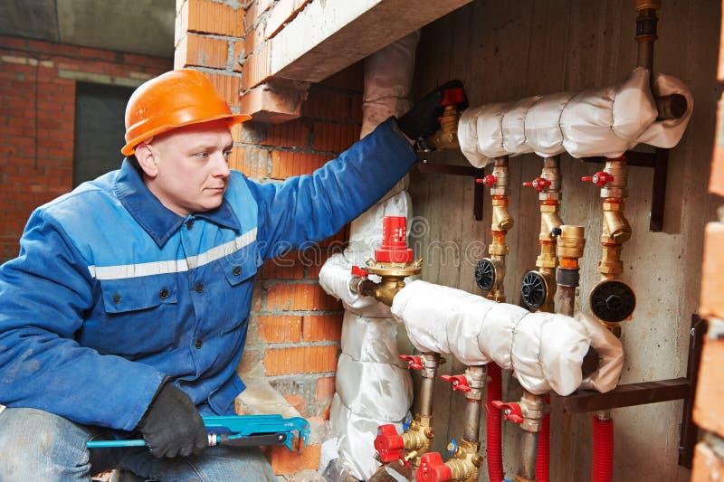 锅炉工程师热化安装工空间 库存照片