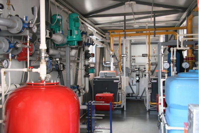 锅炉气体房子内部现代 免版税库存照片