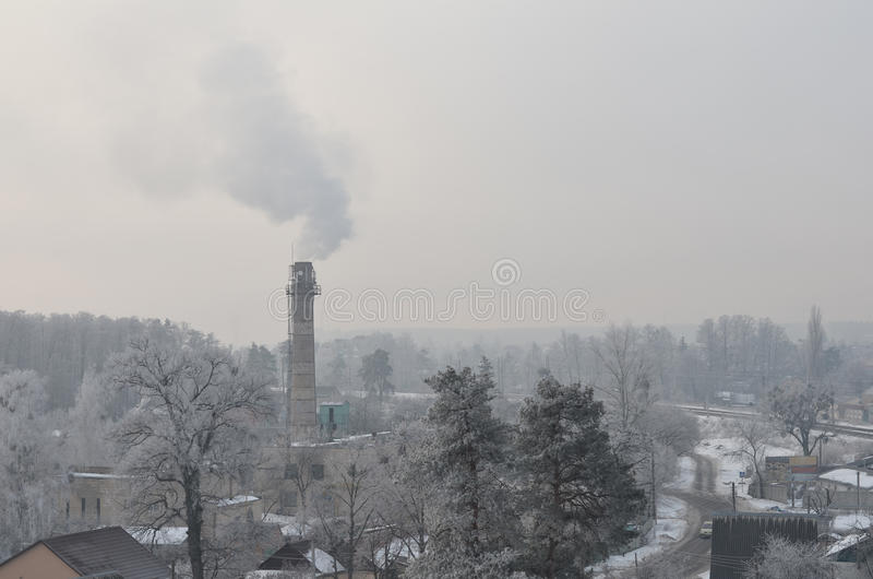 锅炉管在冬天 库存图片