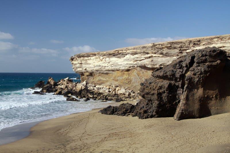 锋利的坚固性峭壁和岩石在被隔绝的偏僻的海滩在费埃特文图拉岛,加那利群岛,西班牙西北海岸  免版税库存图片