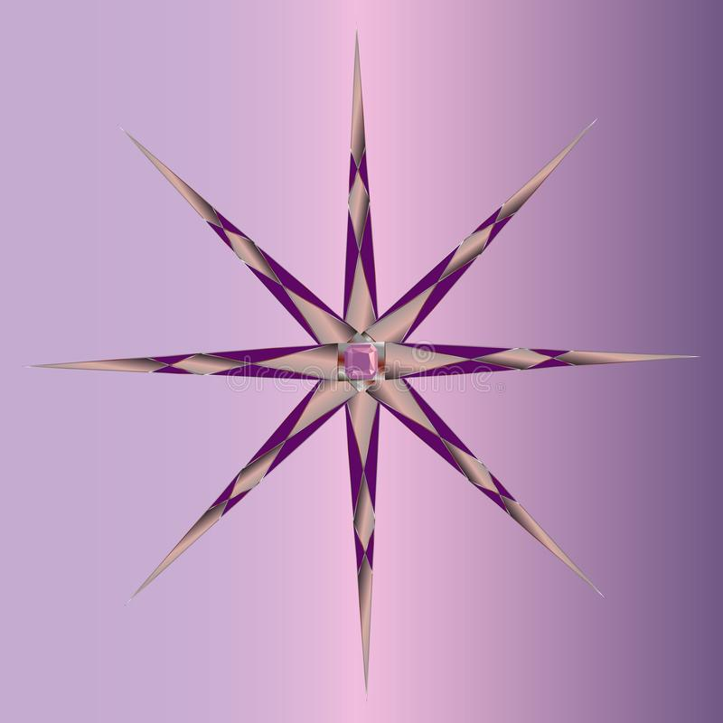 锋利的容量光芒用与宝石的不同的方向在中心 库存例证