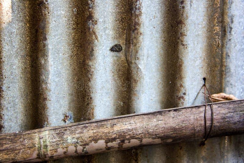 锌纹理和老竹子 库存照片