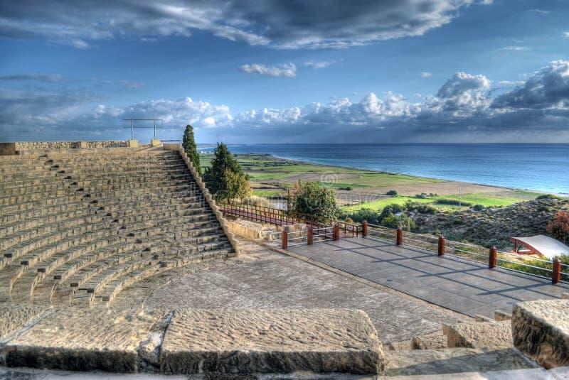锔希腊罗马圆形露天剧场在利马索尔,塞浦路斯 库存图片