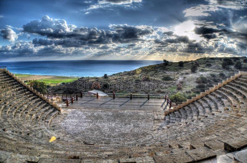 锔希腊罗马圆形露天剧场在利马索尔,塞浦路斯 库存照片
