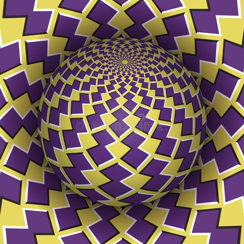 错觉传染媒介例证 腾飞在孔上的方格的球形 黄色紫色被仿造的对象 库存例证