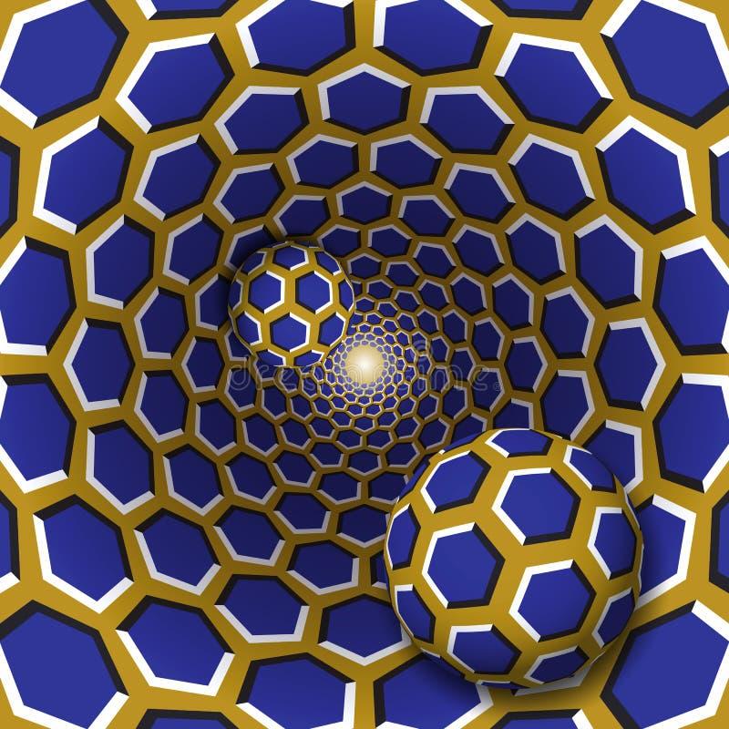 错觉例证 与六角形样式的两个球移动转动的蓝色六角形金黄漏斗 皇族释放例证