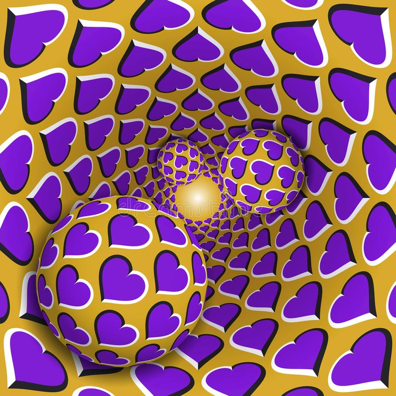 错觉例证 与心脏样式的三个球移动转动的紫心勋章金黄漏斗 皇族释放例证
