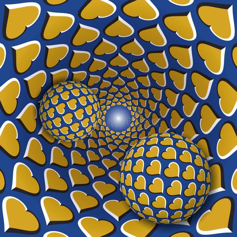 错觉例证 与心脏样式的两个球移动转动的金黄心脏蓝色漏斗 皇族释放例证